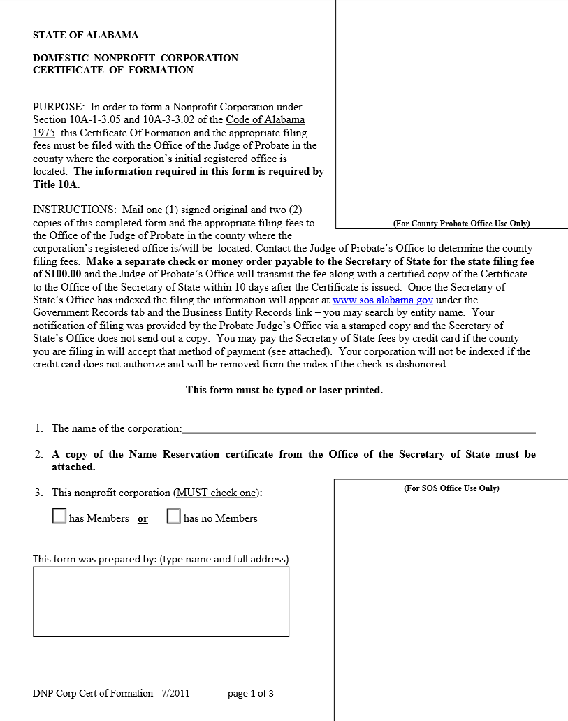 Free Alabama Domestic Nonprofit Corporation Certificate Of Formation
