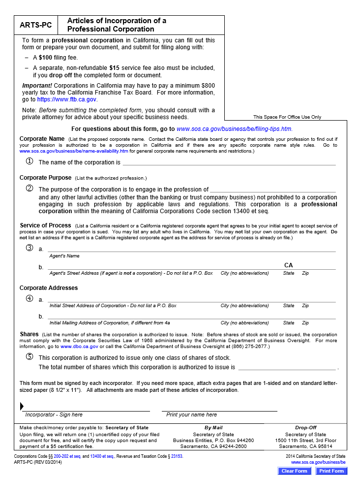 Free California Articles of Incorporation of a Professional ...