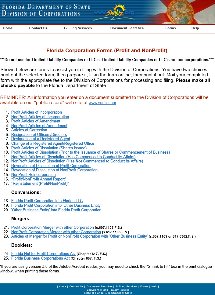 Free Florida Articles Of Incorporation Profit Corporation