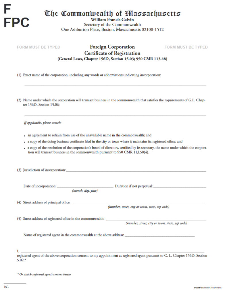 foreign certificate registration massachusetts ma form corporation blank line ffpc marks month step report
