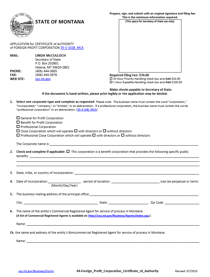 Free Montana Application For Certificate Of Authority For Foreign