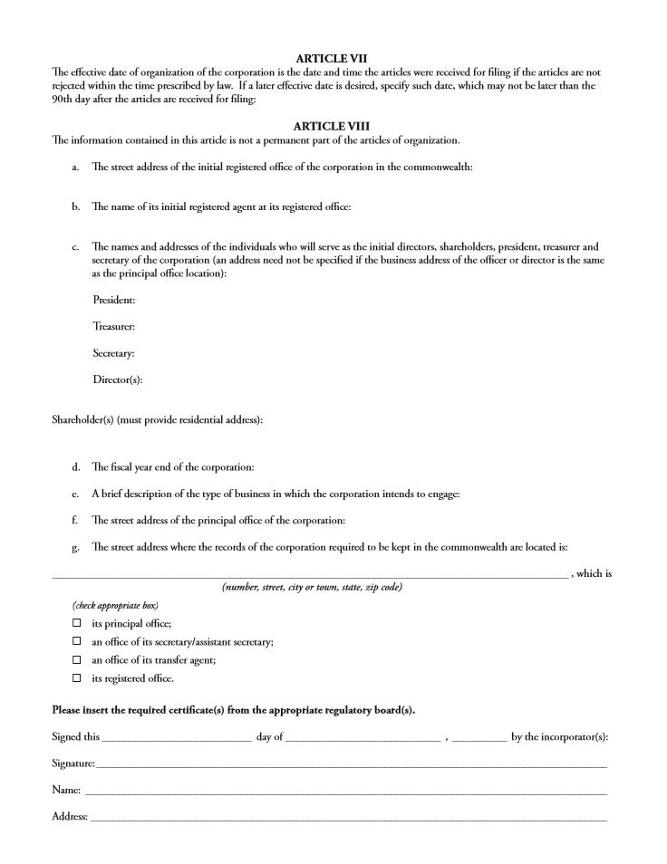 Free Massachusetts Articles of Organization Professional ...
