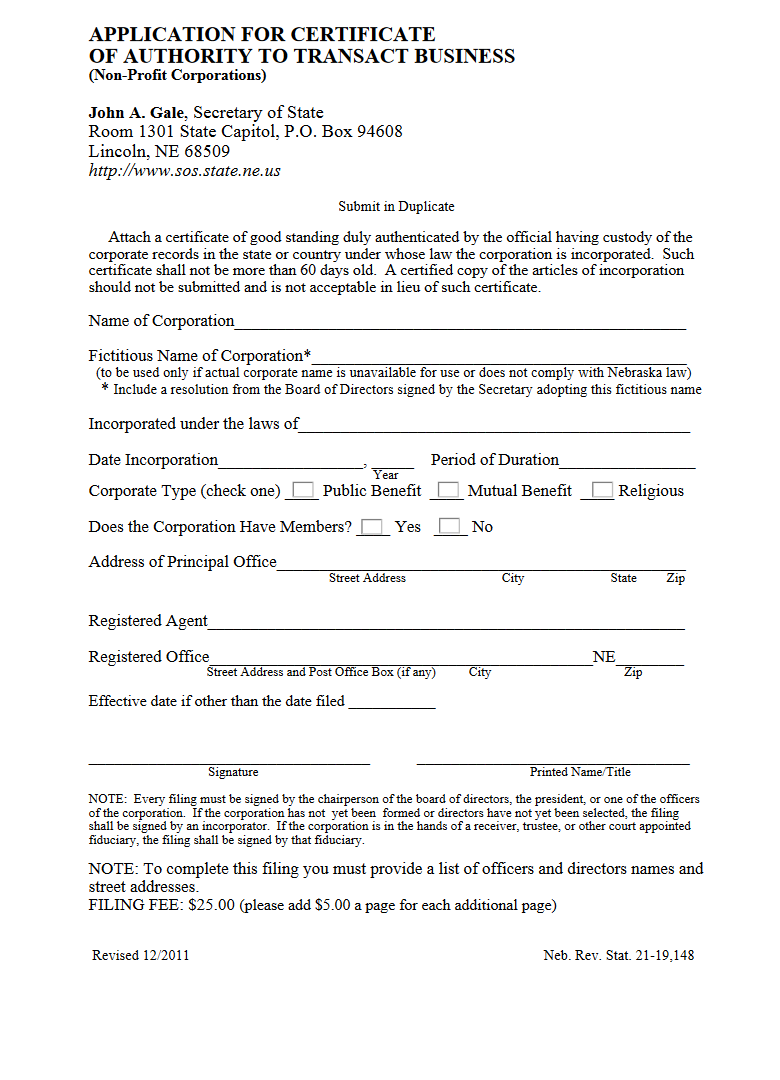 Free nebraska application for certificate of authority to for Nebraska certificate of organization template
