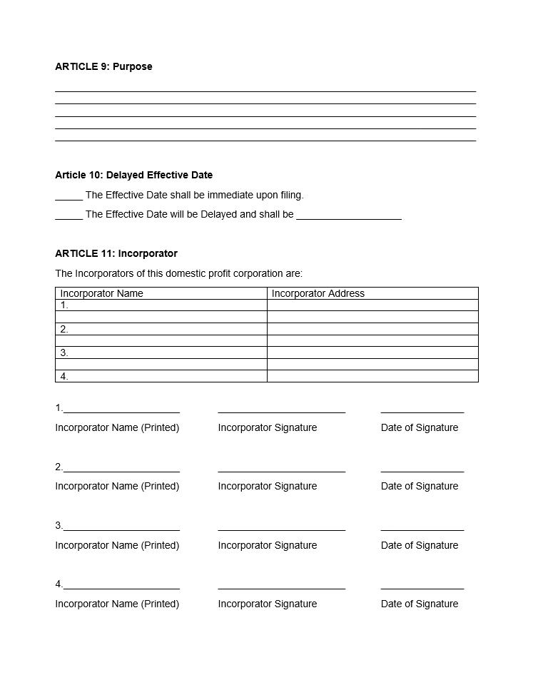 Free Nebraska Articles of Incorporation Domestic Nonprofit Corporation