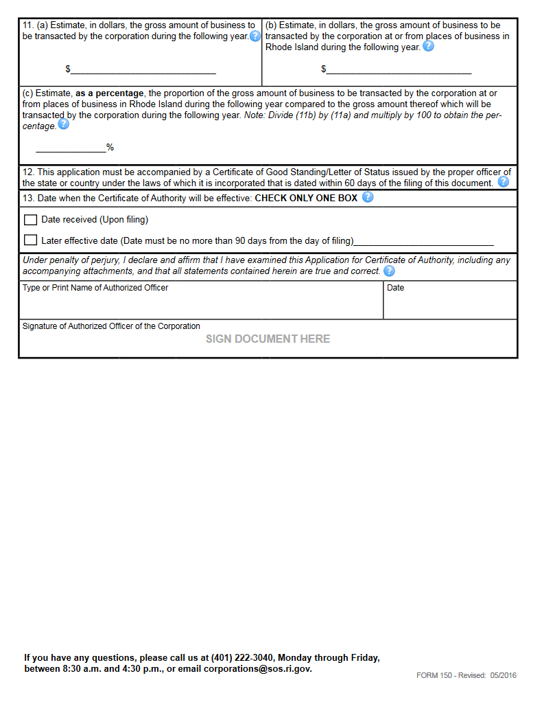 Free Rhode Island Application for Certificate of Authority by a ...