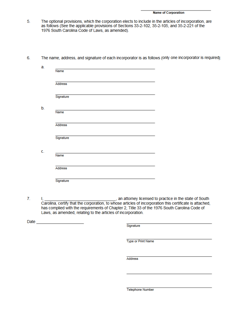 How to Fill out Articles of Incorporation