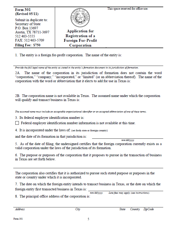 Free Texas Application for Registration of a Foreign For-Profit ...