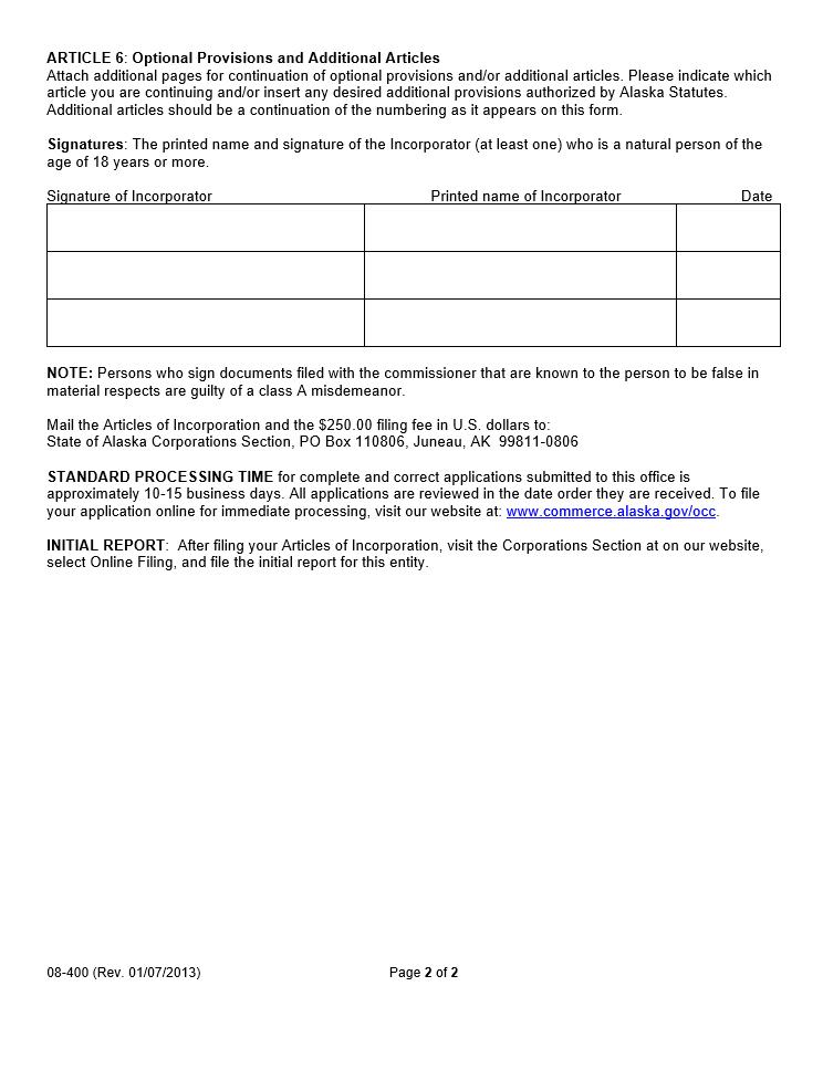Free Alaska Articles Of Incorporation Domestic Business Corporation