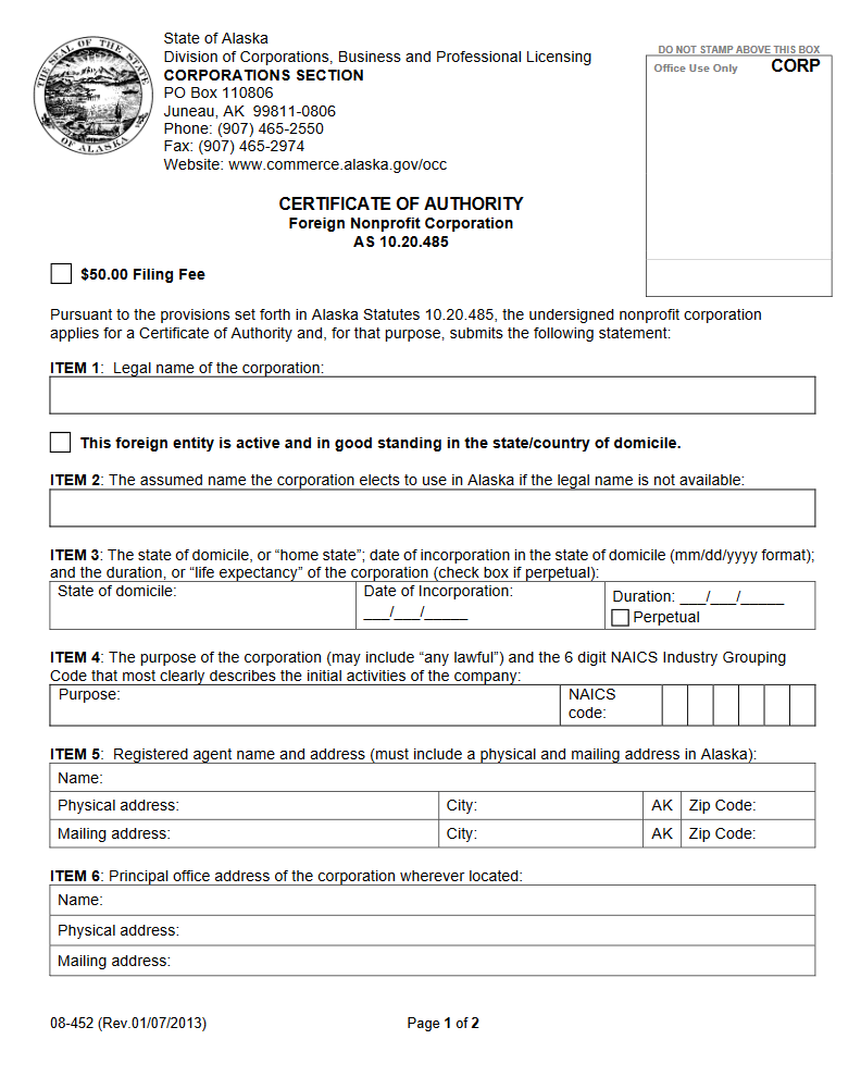 Free alaska certificate of authority foreign nonprofit corporation ak for nonprof p1 xflitez Gallery