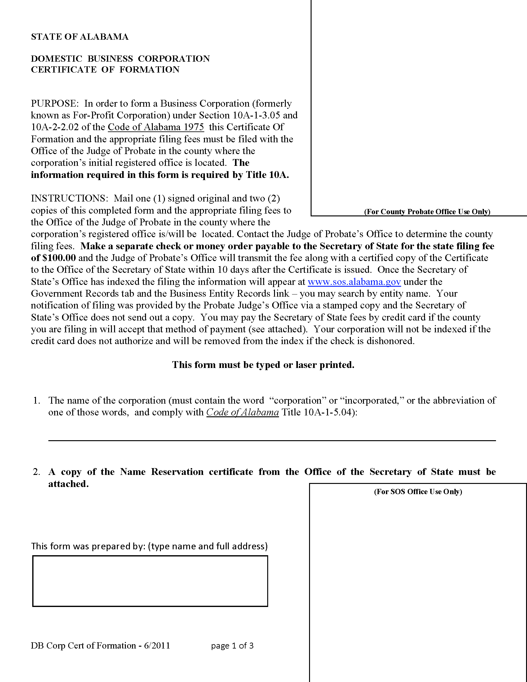 Free alabama domestic profit articles of incorporation for Certificate of organization template