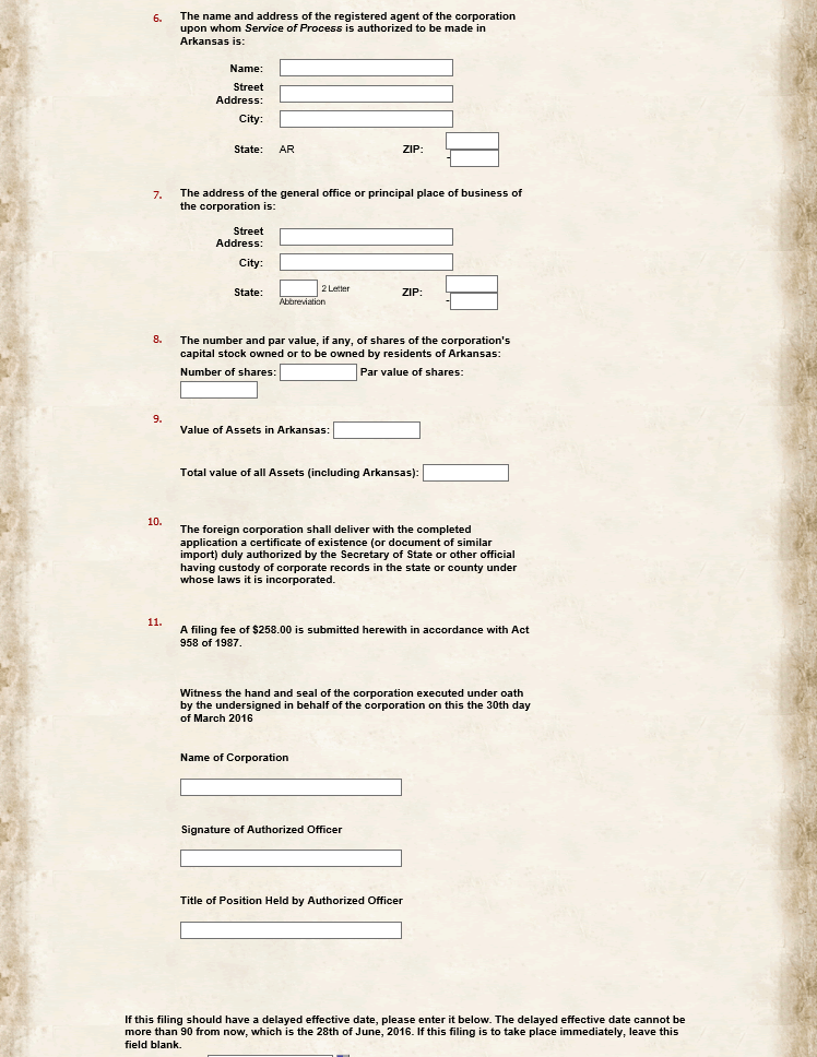 Free Arkansas Application For Certificate Of Authority Form F 01