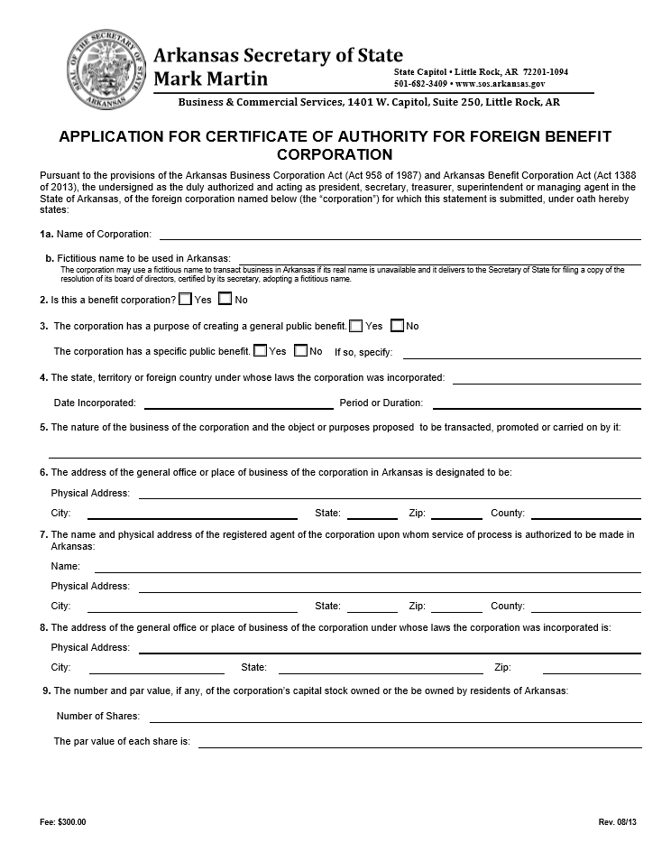 Free Arkansas Application for Certificate of Authority for Foreign ...