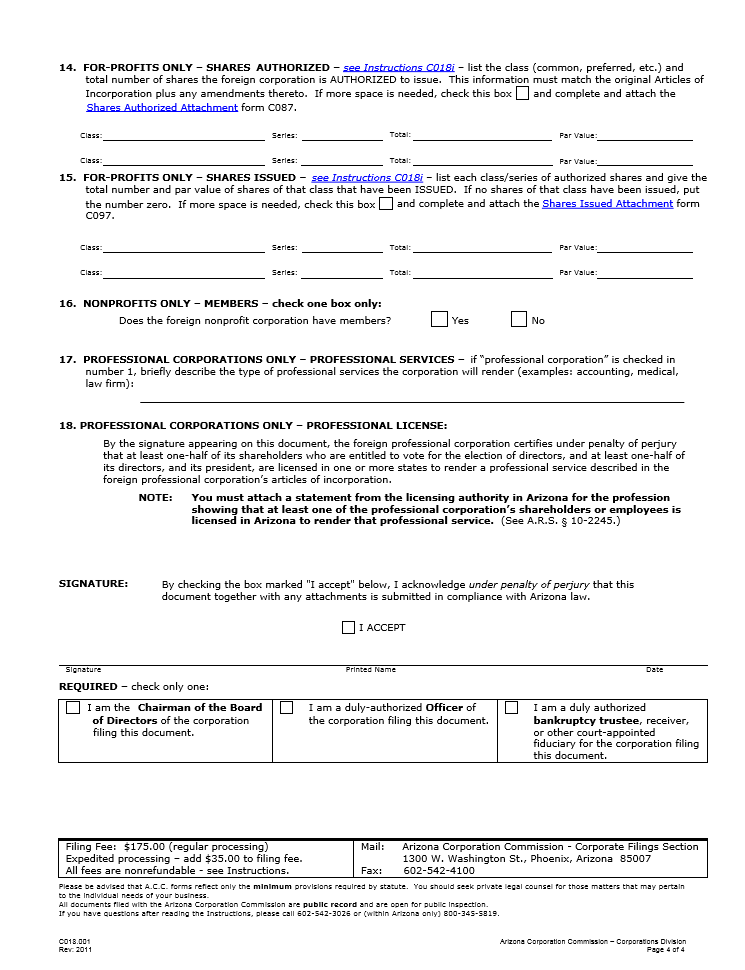 free arizona application for authority to transact business or