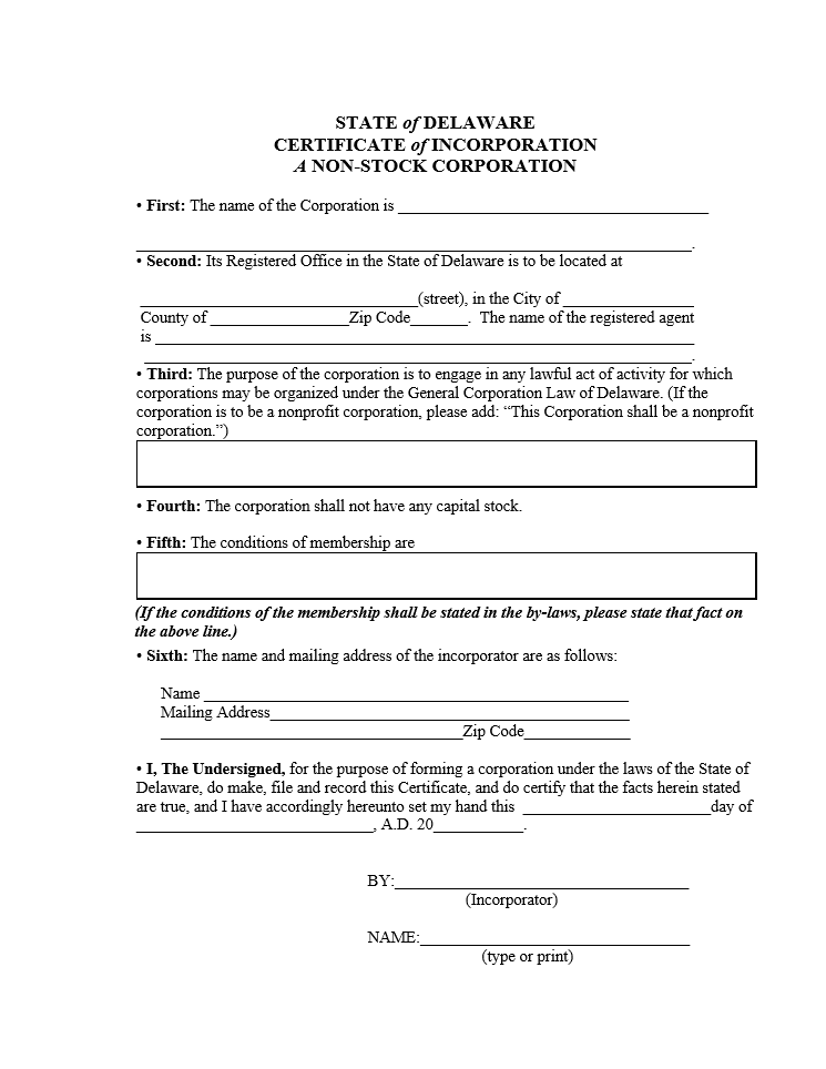 Free Delaware Certificate Of Incorporation A Non Stock Corporation