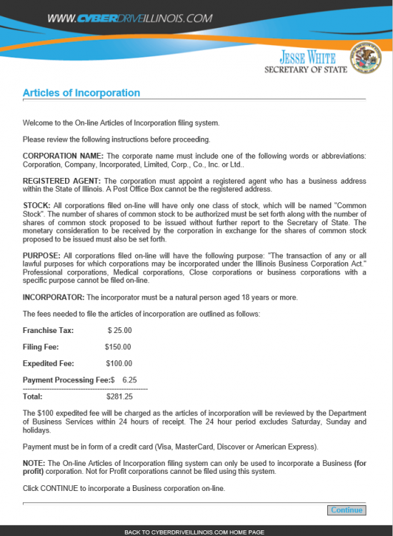 articles of incorporation outline