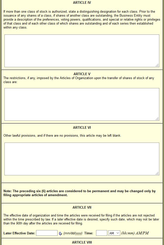 massachusetts articles of incorporation