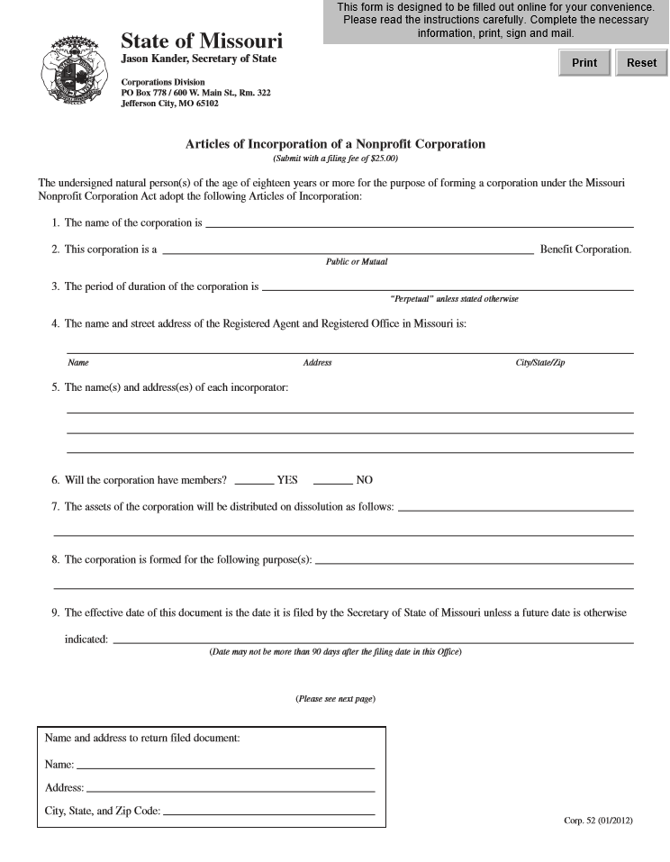 Free Missouri Articles Of Incorporation Of A Nonprofit Corporation