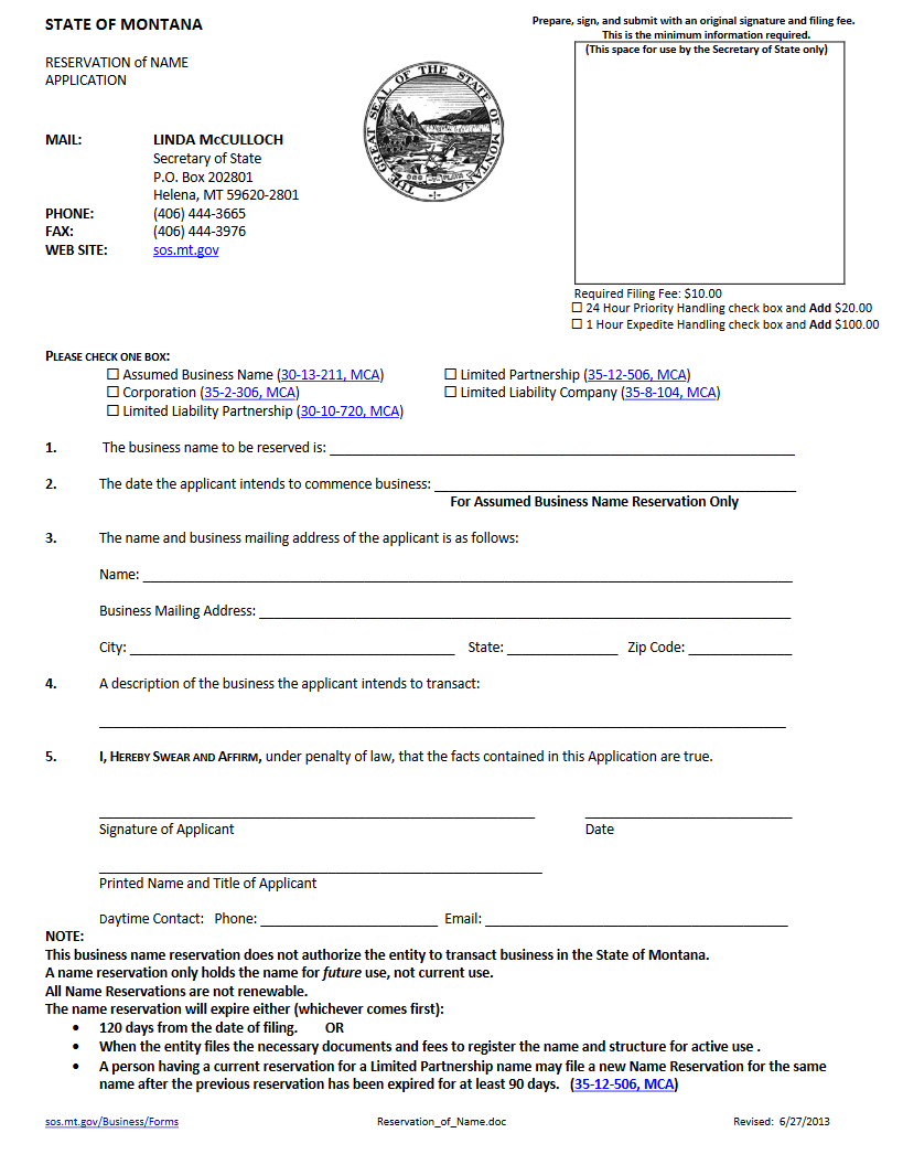 Free Montana Articles Of Incorporation Mt Secretary Of State