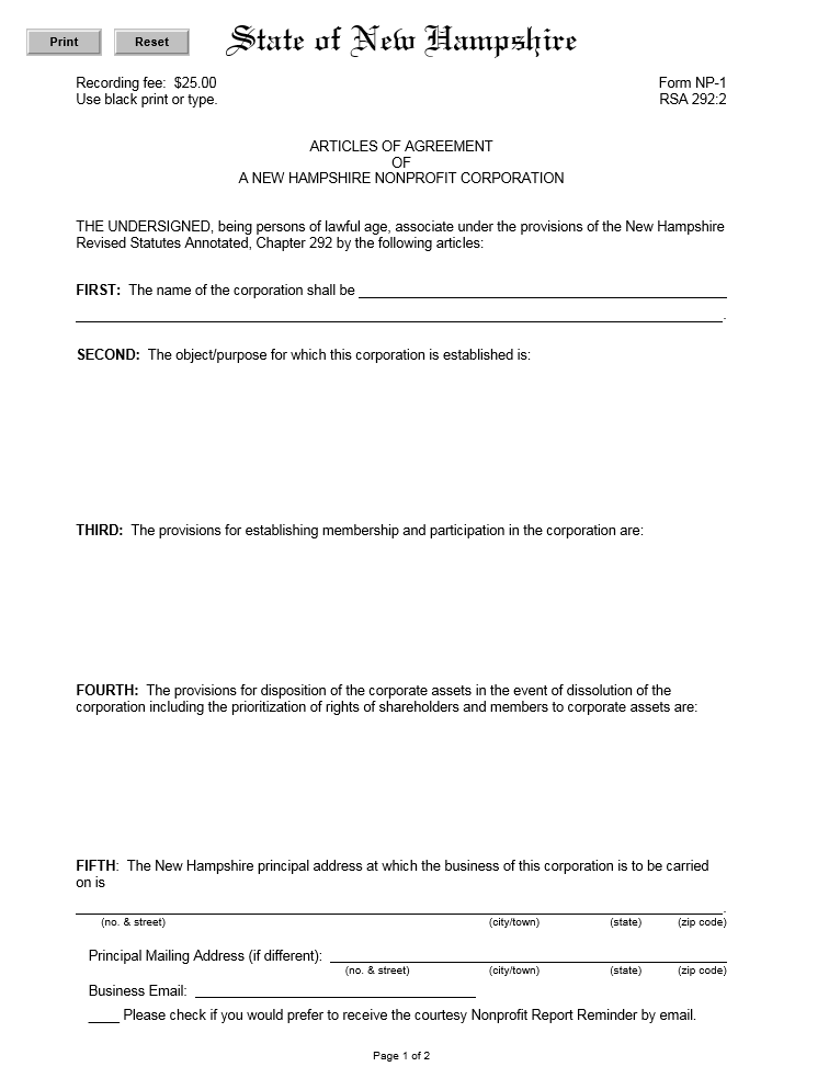 Free State Of New Hampshire Articles Of Agreement Of A New