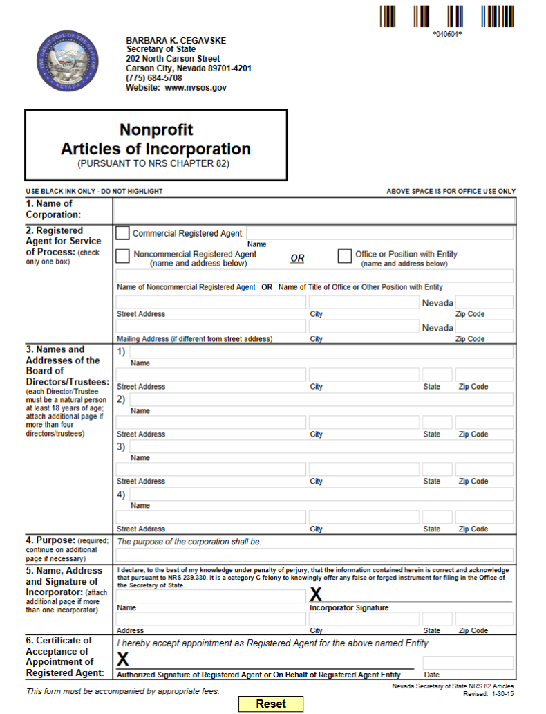 Free Nevada Nonprofit Articles of Incorporation