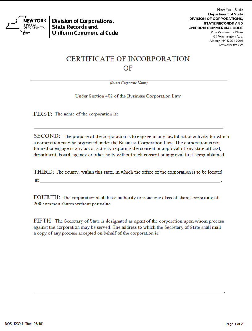 Free New York Certificate Of Incorporation Business Corporation