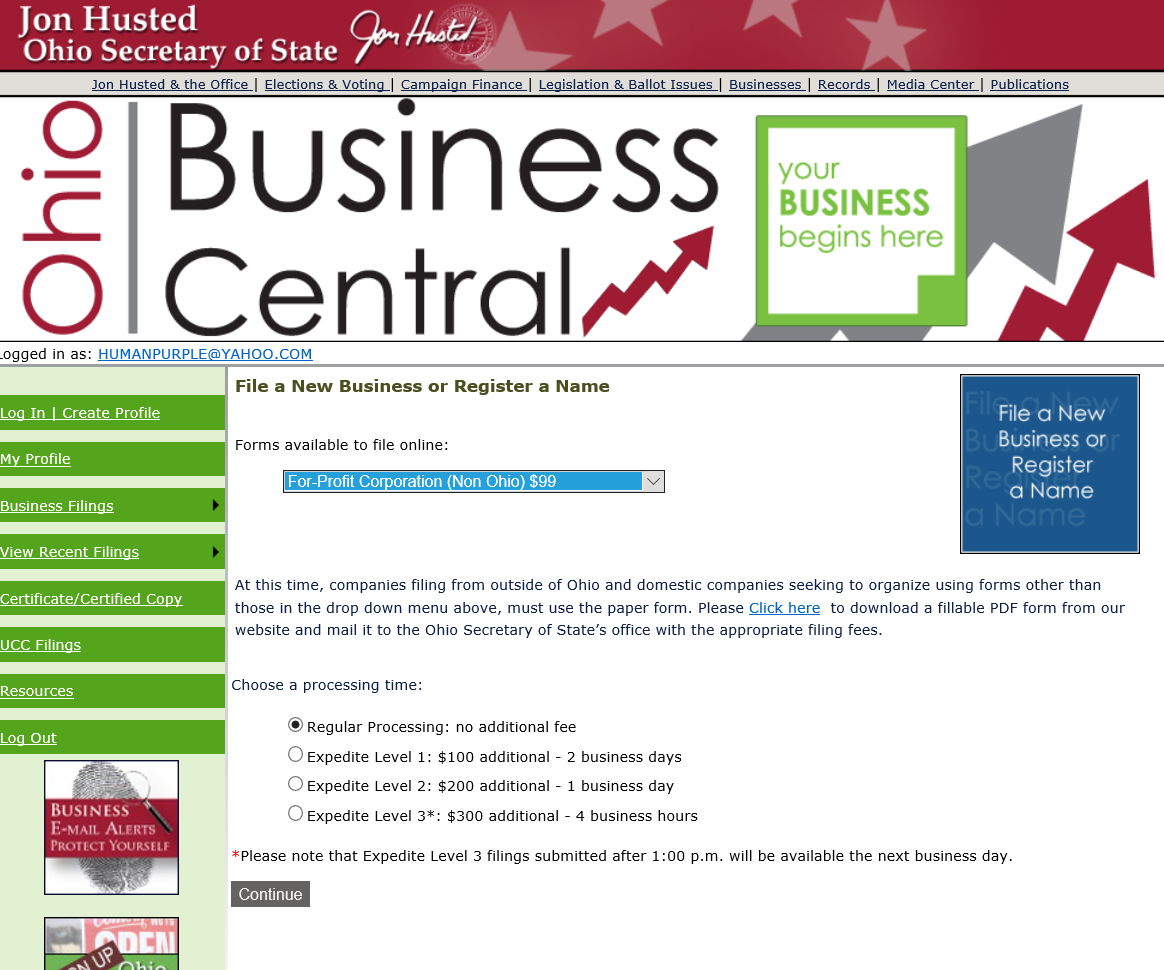 Check availability of business name ohio - Oh Art Of Inc Nonprof P4