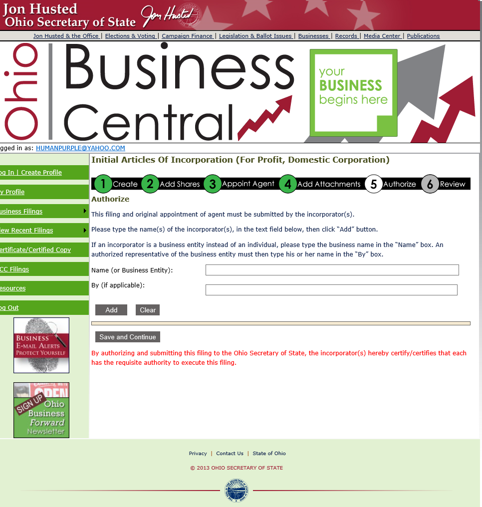 Check availability of business name ohio - Oh Art Of Inc Online P11