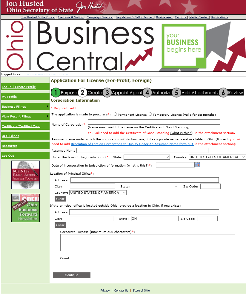 Check availability of business name ohio - Oh Foreign Forprofit P10