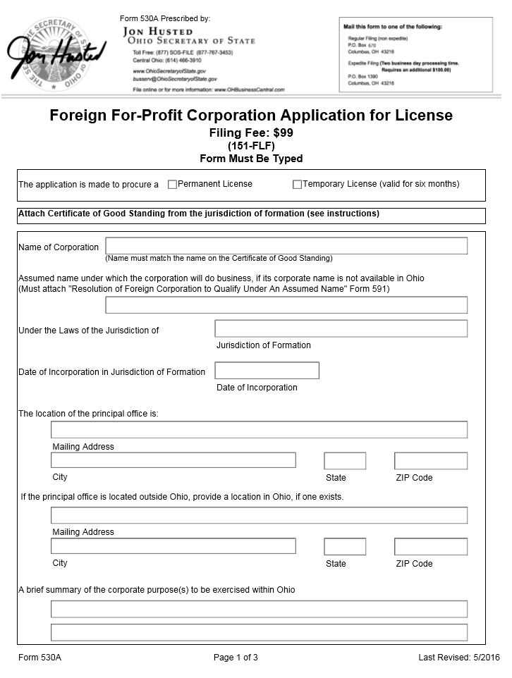 Free Ohio Foreign For Profit Corporation Application For License