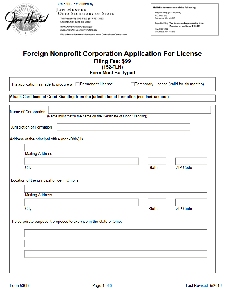 Free Ohio Foreign Nonprofit Corporation Application For License