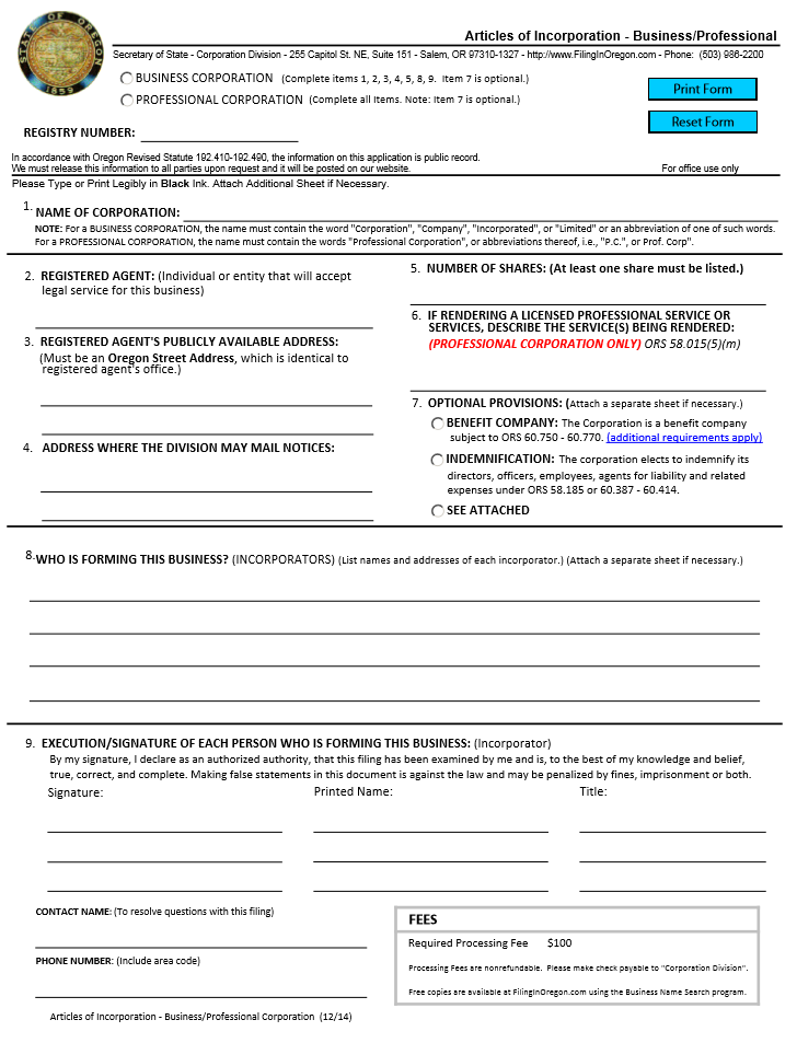 Free Oregon Articles of Incorporation Business/Professional