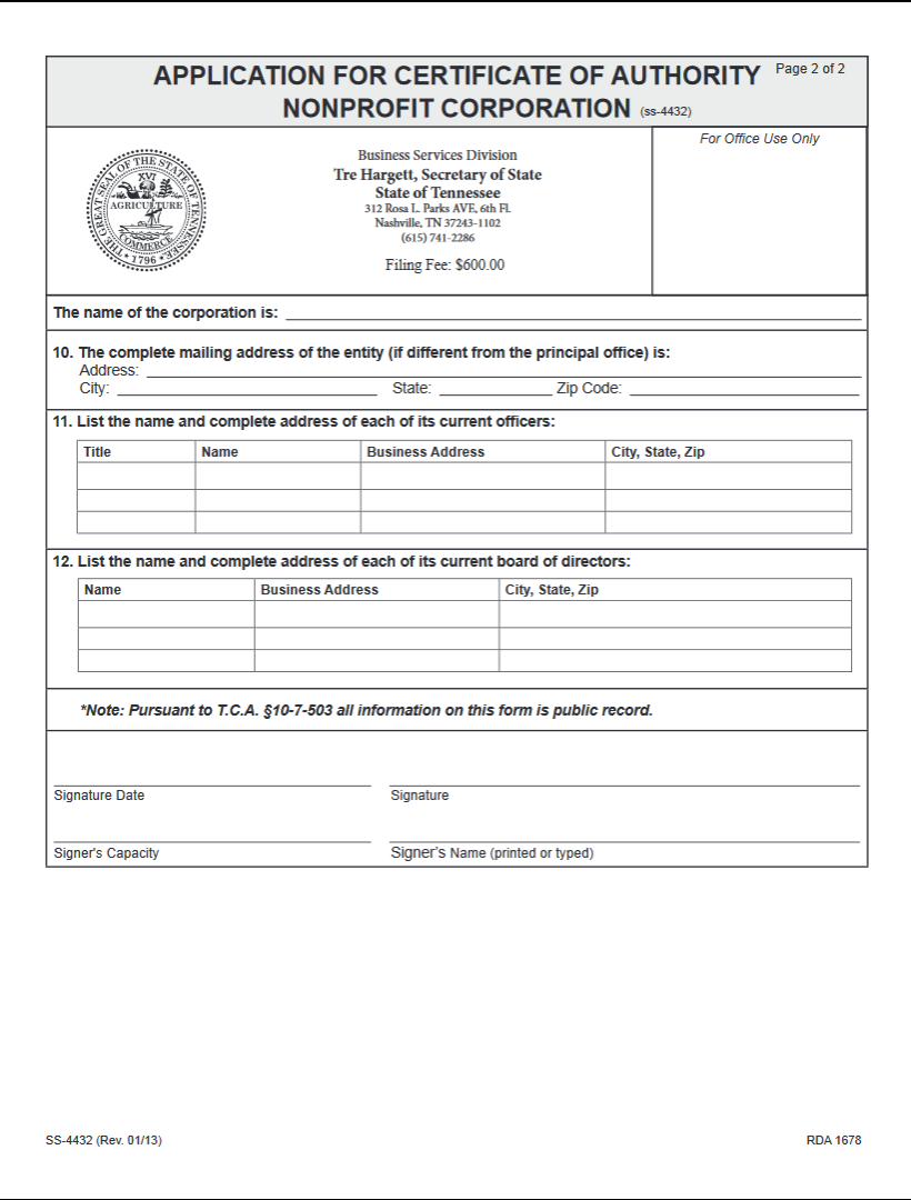 Free tennessee application for certificate of authority nonprofit tn app for auth nonprft p2 1betcityfo Image collections
