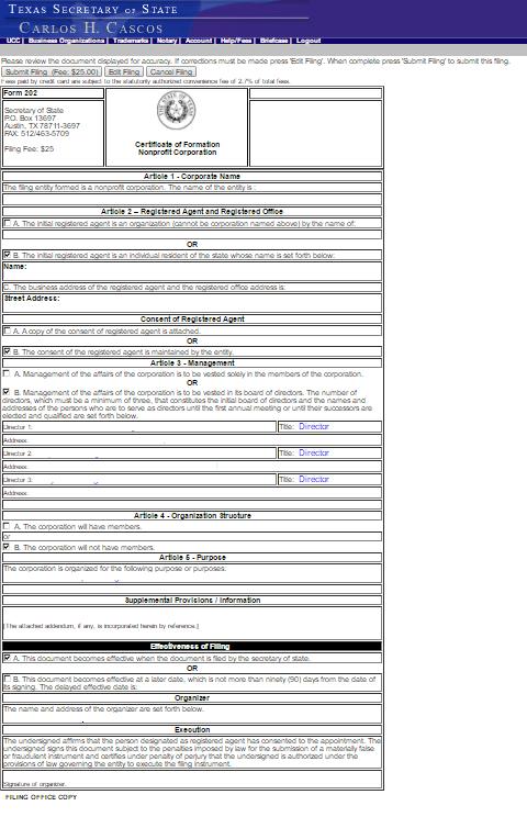 tx cert of form nonprof p17