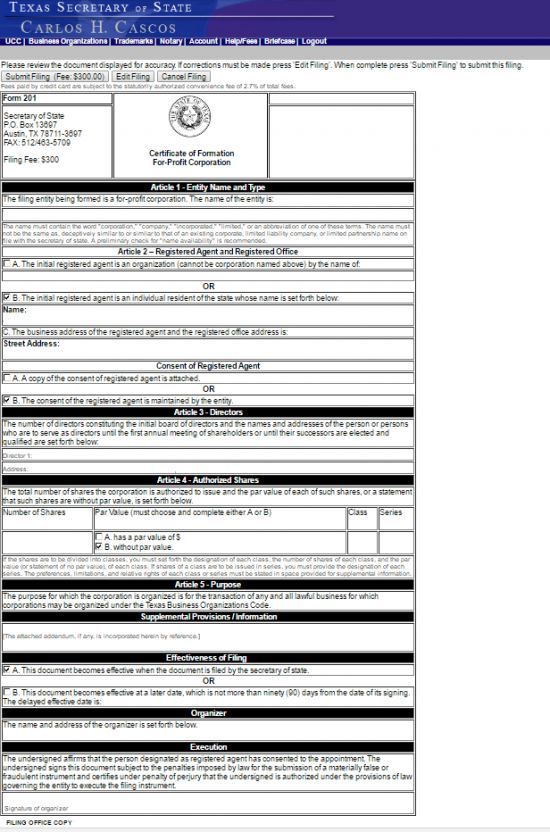 Free Texas Certificate Of Formation For Profit Corporation Form 201