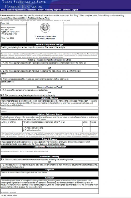 tx cert of form p17