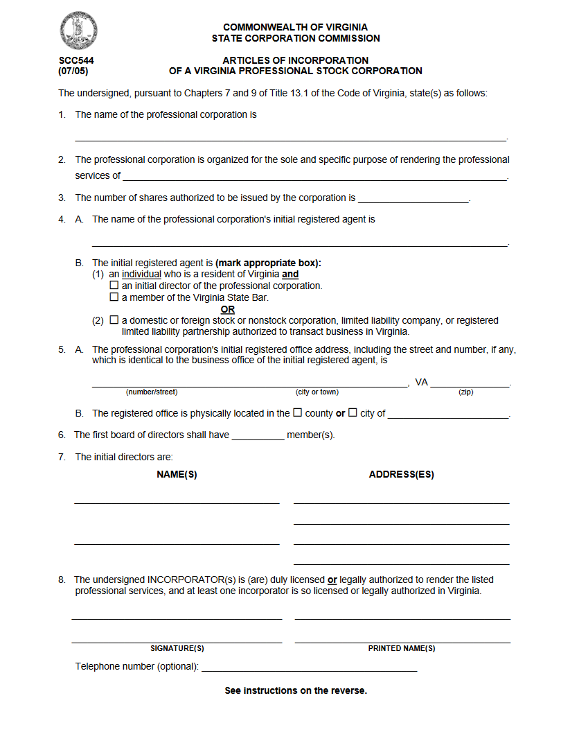 free virginia articles of incorporation of a virginia professional stock corporation form scc631. Black Bedroom Furniture Sets. Home Design Ideas