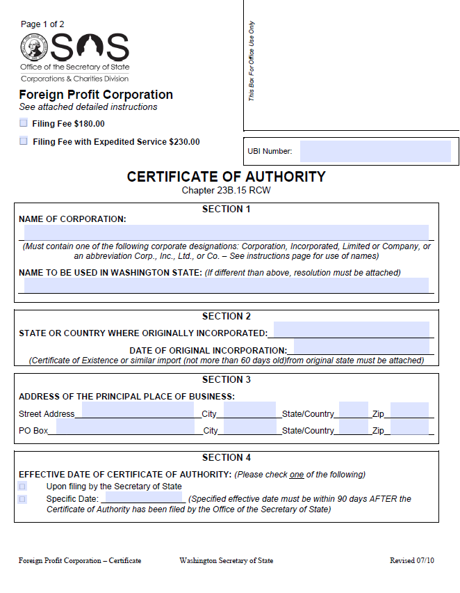Free Washington Application For A Certificate Of Authority Foreign