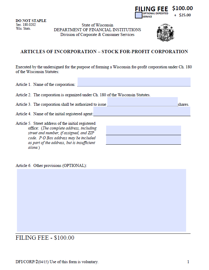 Create your Free Articles of Incorporation form in minutes