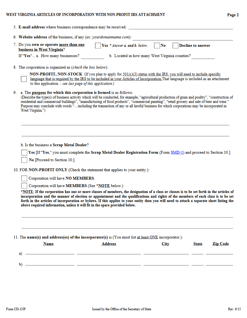 Free West Virginia Articles of Incorporation with Non-Profit