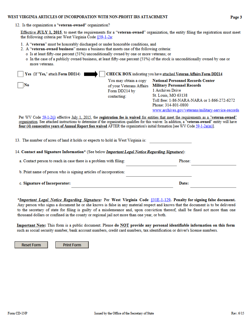 Free West Virginia Articles of Incorporation with Non-Profit IRS